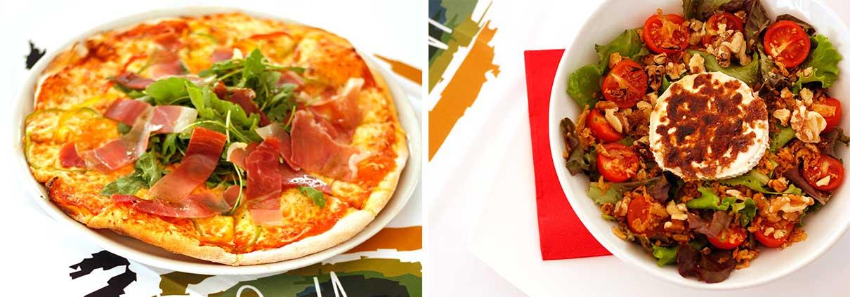 Pizza y ensalada - Restaurante La Palette